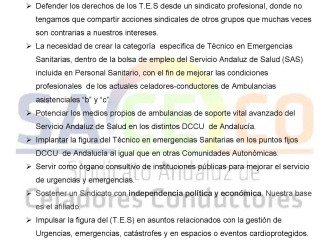 Objetivos de la vocalía de Técnicos en Emergencias Sanitarias