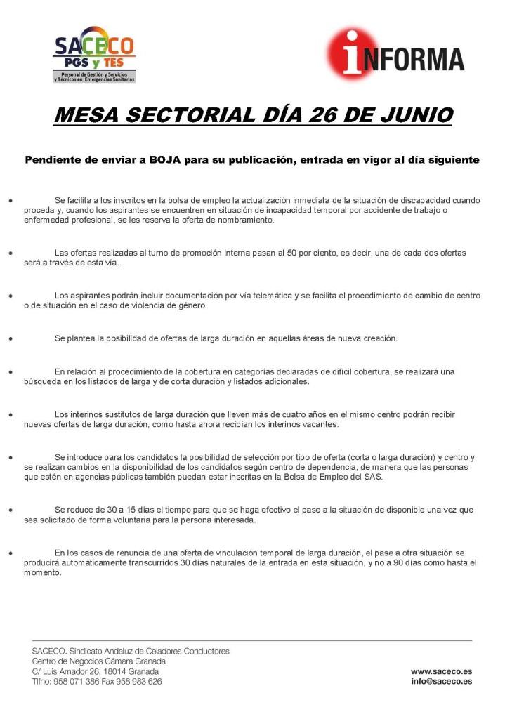 Mesa sectorial 26-06-2017