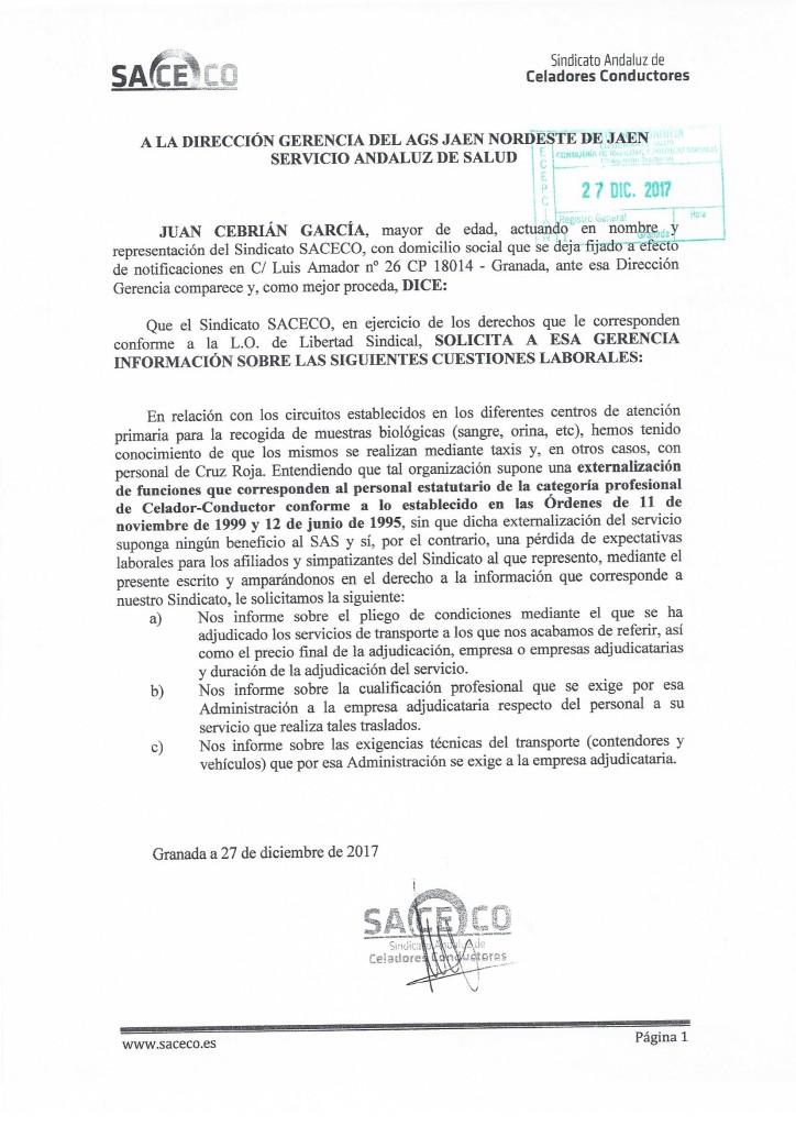 Escrito externalizacion de funciones Jaen Nordeste