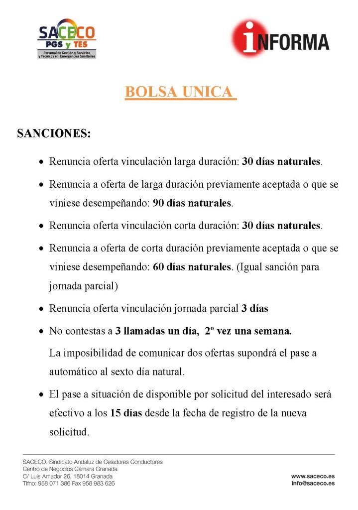SANCIONES BOLSA