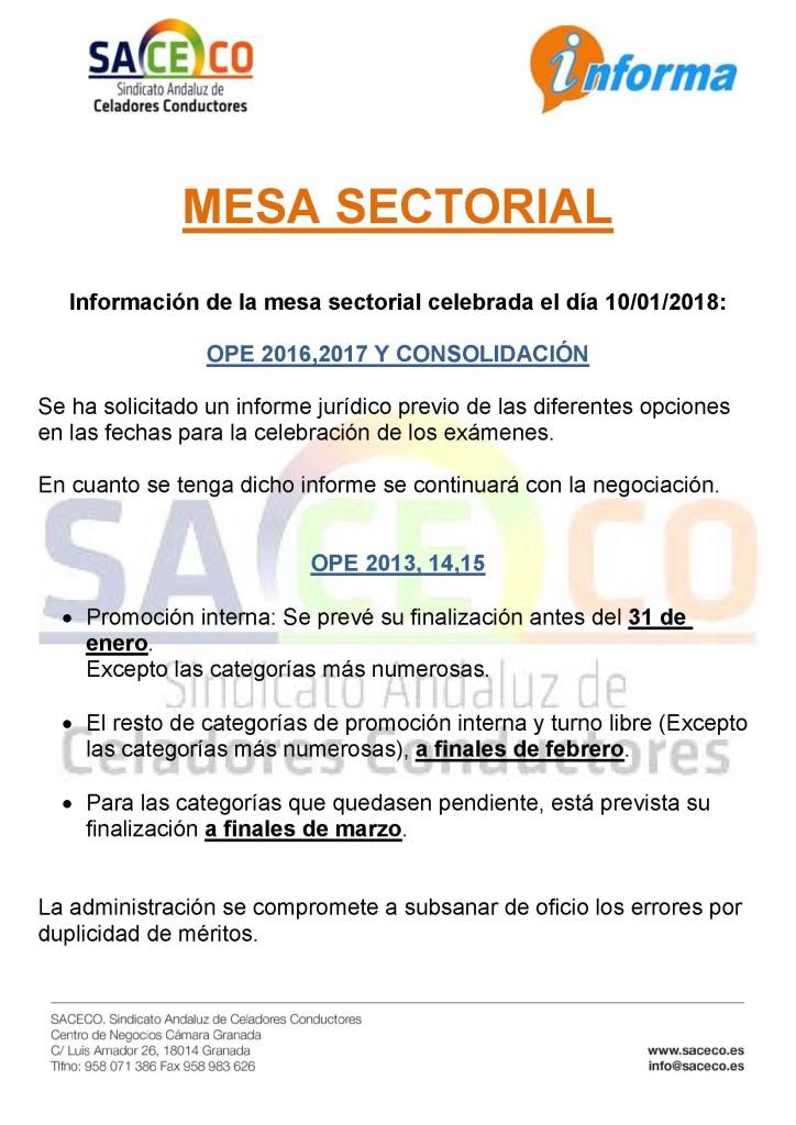 mesa sectorial 10-01-2018