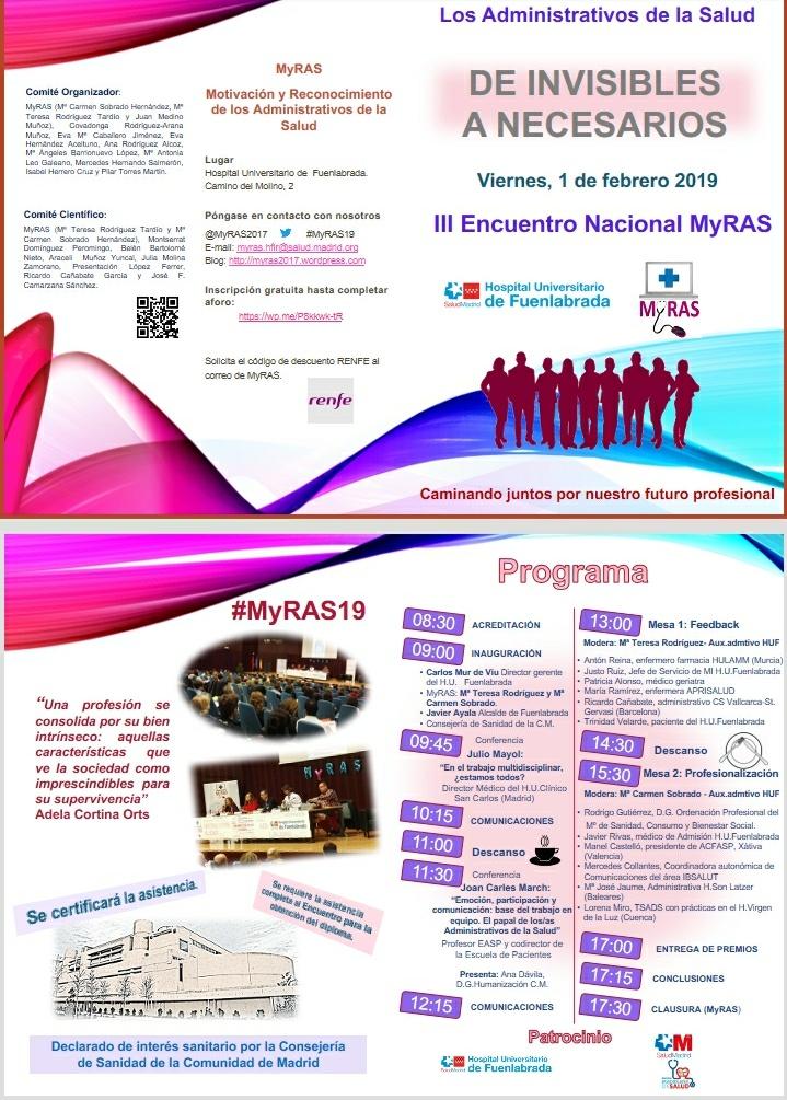 III Encuentro Nacional MyRAS de Administrativos de la Salud en el Hospital Universitario de Fuenlabrada.