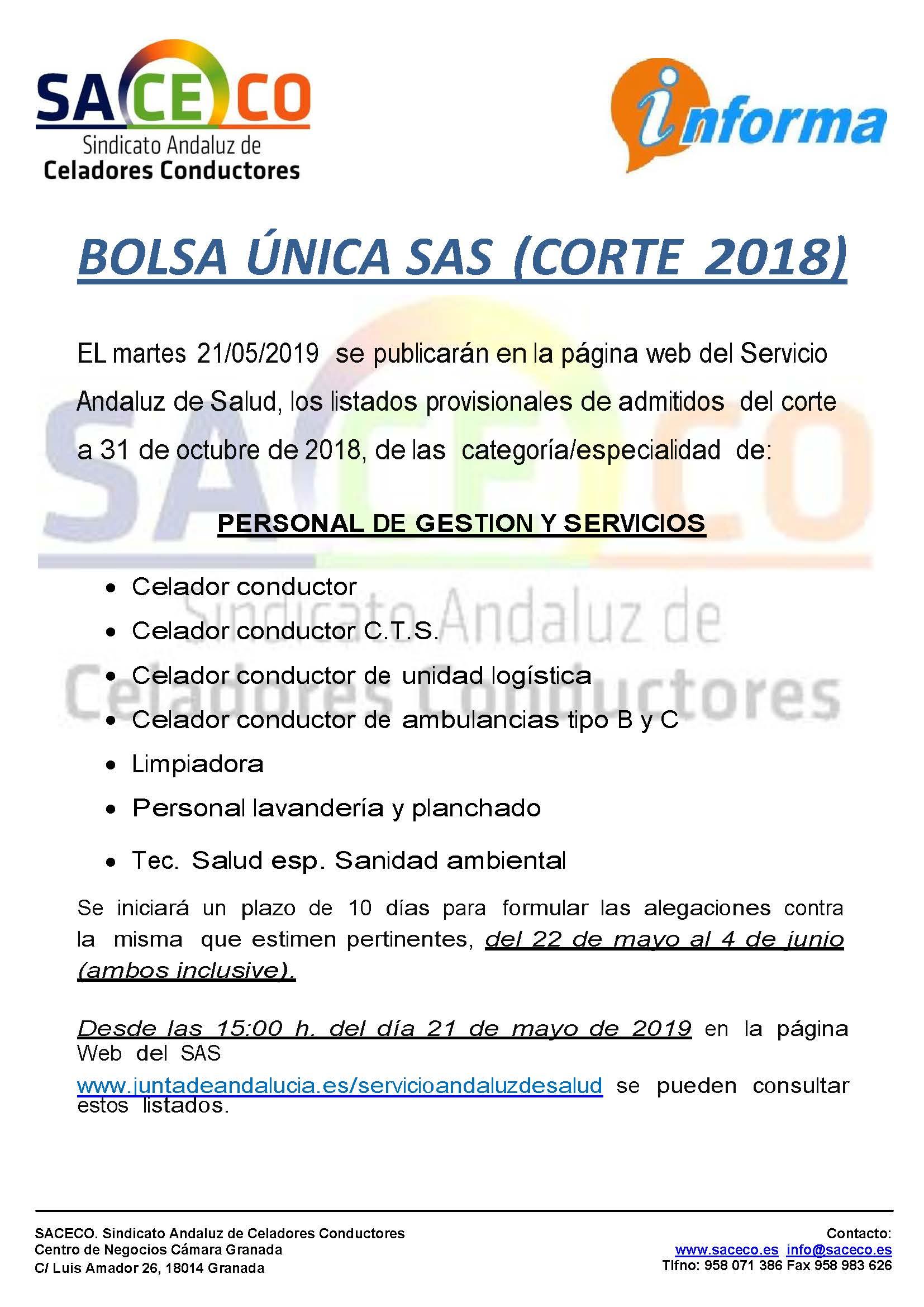 BOLSA ÚNICA SAS (CORTE 2018)