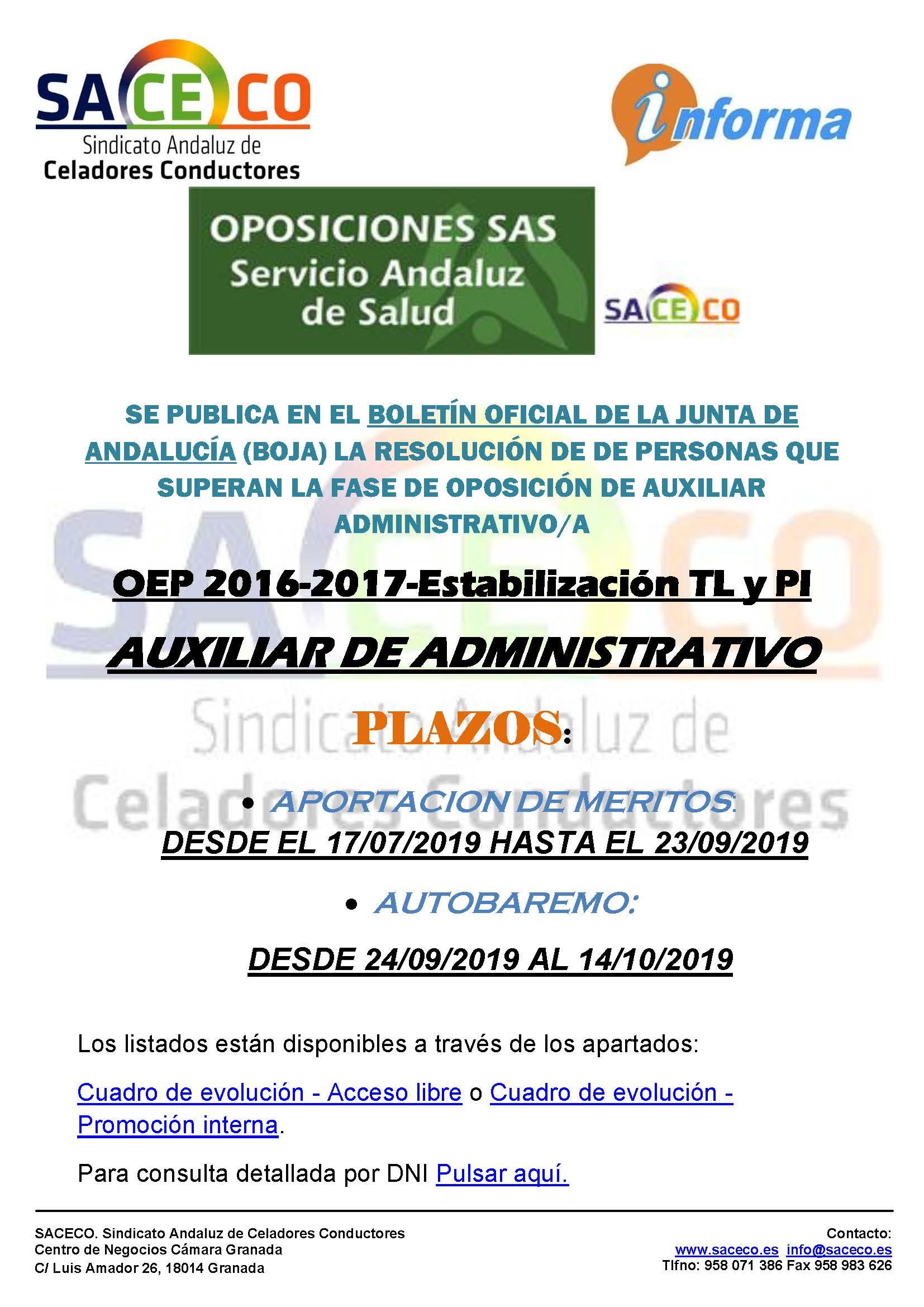 resolucion oposición auxiliar administrativo