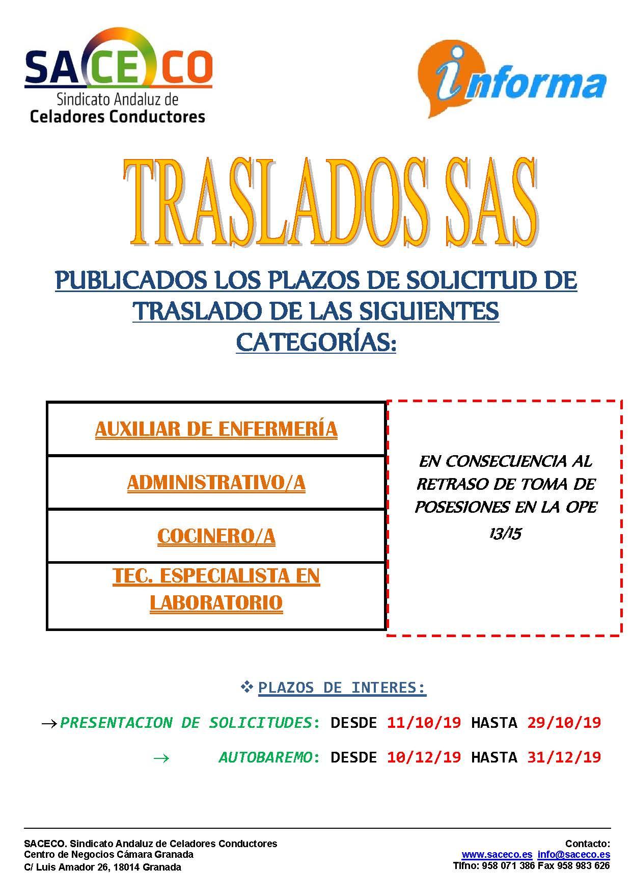 PUBLICADOS LOS PLAZOS DE SOLICITUD DE TRASLADO DE LAS SIGUIENTES CATEGORÍAS