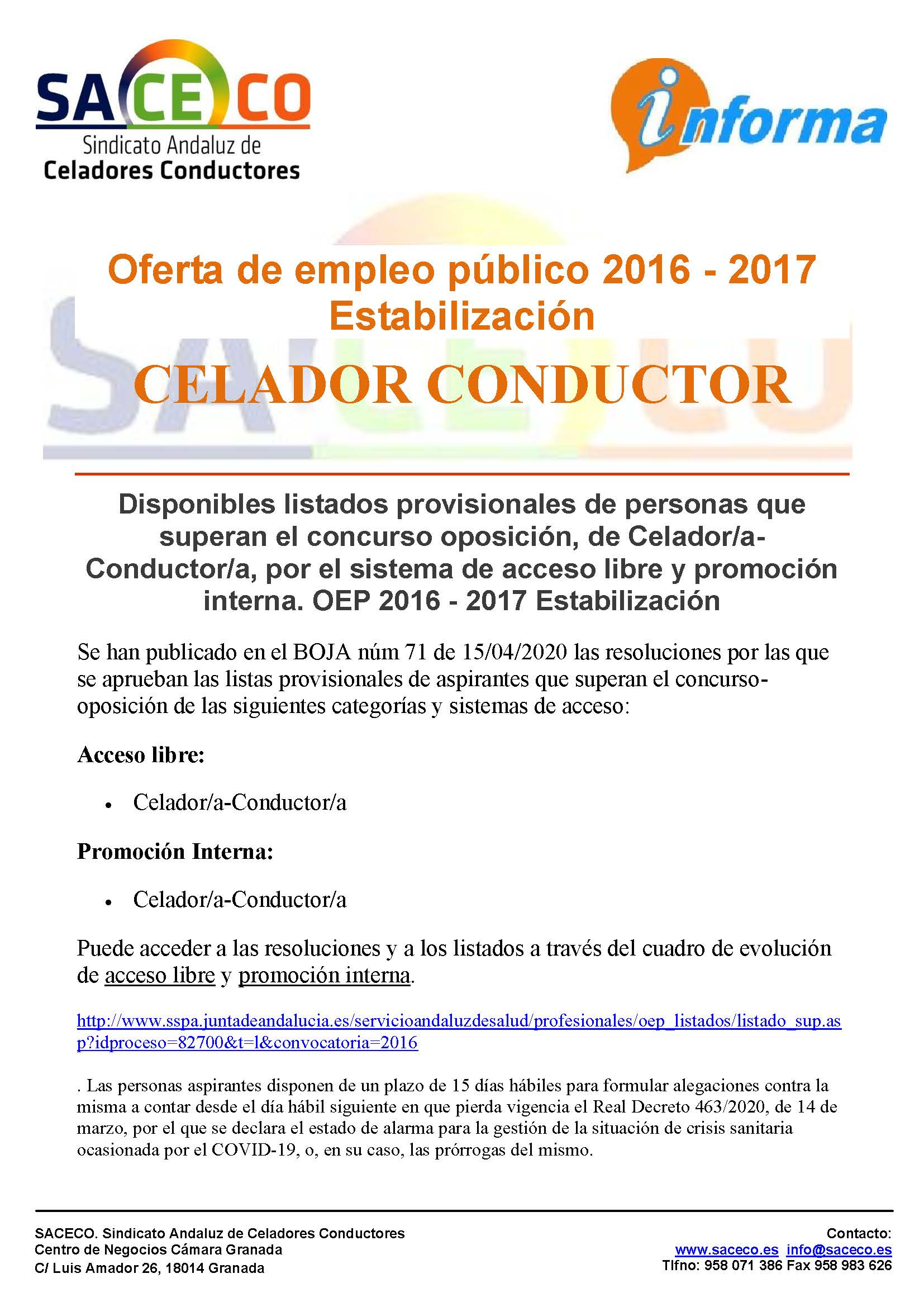 OPE 2016 CELADOR CONDUCTOR